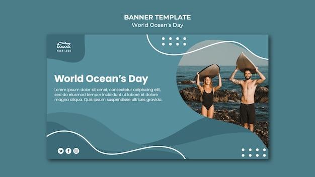 Banner della giornata mondiale dell'oceano Psd Gratuite