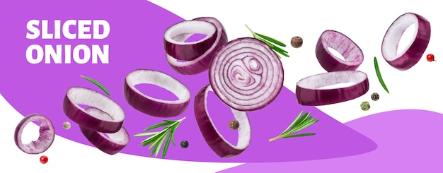 Banner di anelli di cipolla rossa affettata Psd Premium