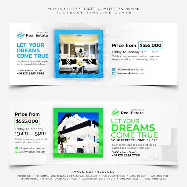Banner di copertina della timeline di facebook immobiliare Psd Premium