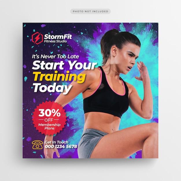 Banner di post di social media palestra fitness o volantino quadrato Psd Premium