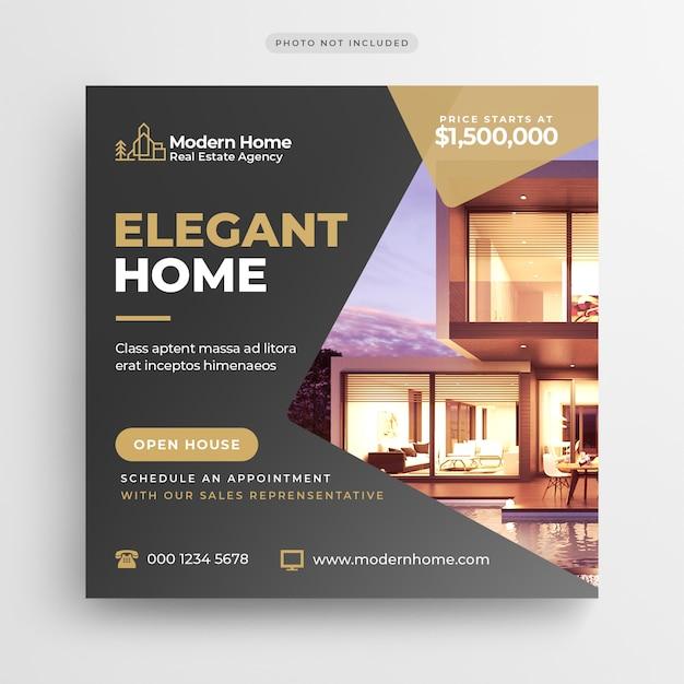 Banner di social media immobiliari o modello di volantino quadrato Psd Premium