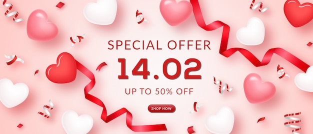 Banner di vendita di san valentino Psd Premium