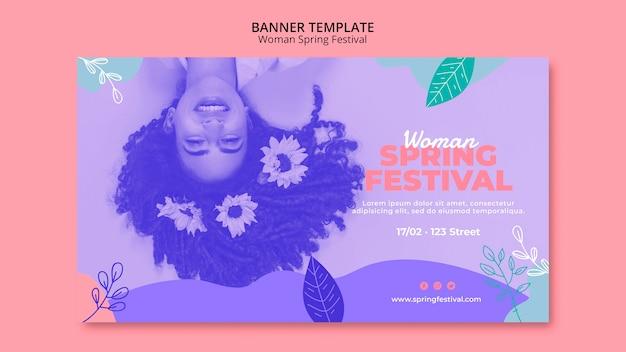 Banner con diseño de festival de primavera de mujer PSD gratuito