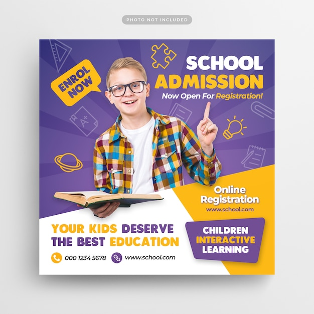 Banner e volantino di social media ammissione all'istruzione scolastica Psd Premium