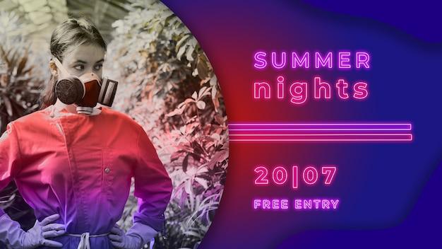 Banner de fiesta de noche de verano en estilo de luces neon PSD gratuito
