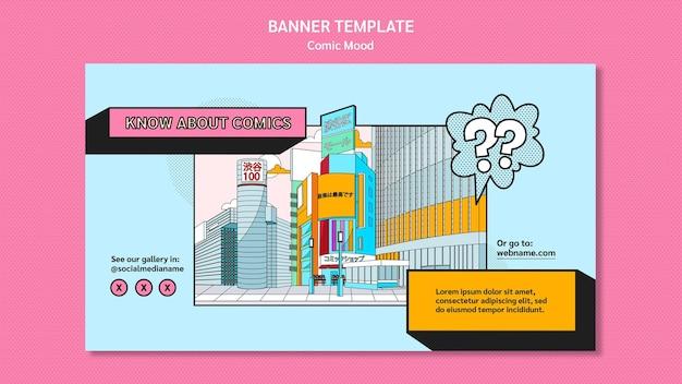 Banner komische ontwerpsjabloon Gratis Psd