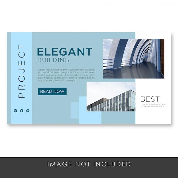 Banner landingspagina architectuur blauwe moderne sjabloon Premium Psd