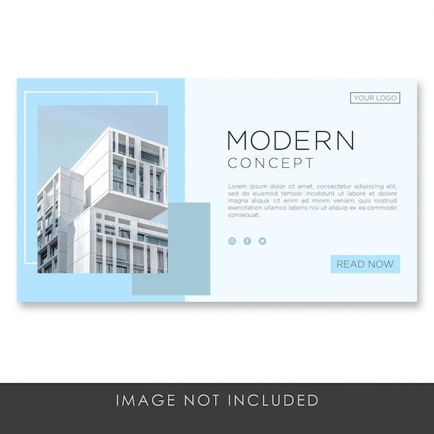 Banner landingspagina architectuur moderne concept sjabloon Premium Psd