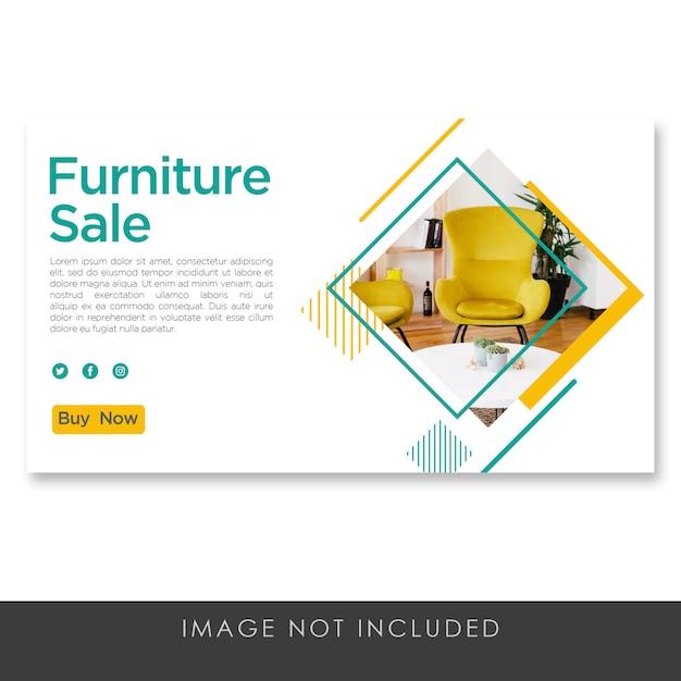 Banner meubels verkoop gele sjabloon schoon modern Premium Psd