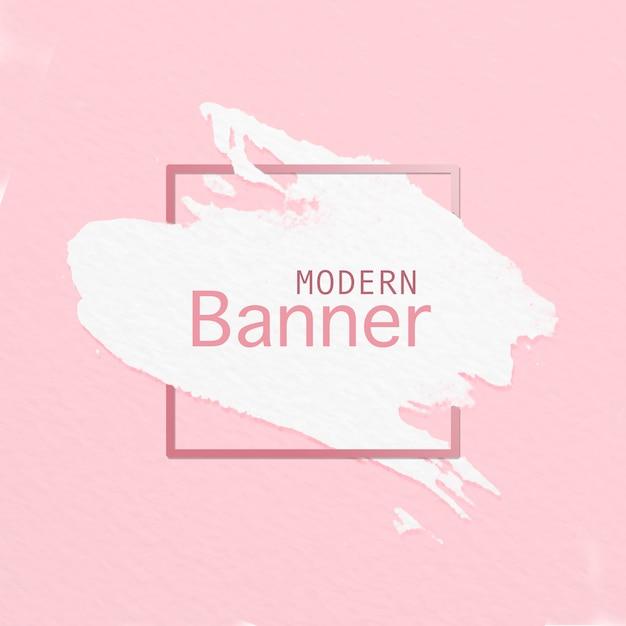 Banner moderno de pincel sobre fondo rosa PSD gratuito