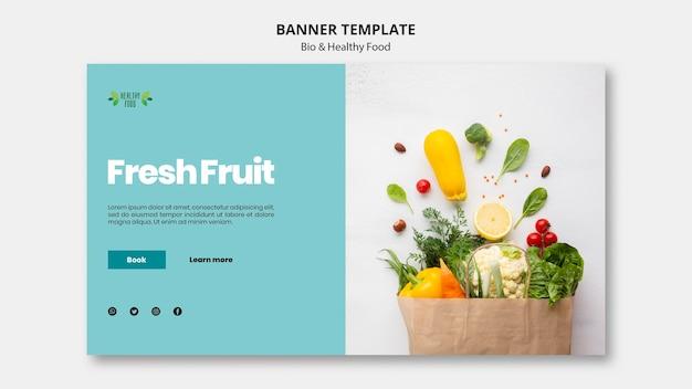 Banner con plantilla de alimentos saludables y bio PSD gratuito