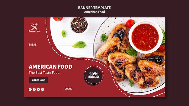 Banner plantilla comida americana PSD gratuito