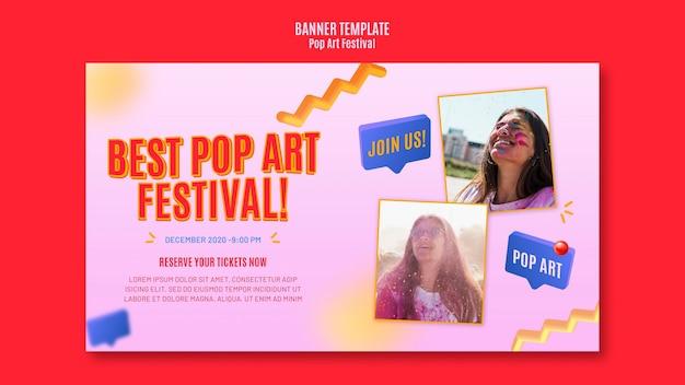 Banner popart festival sjabloon Gratis Psd