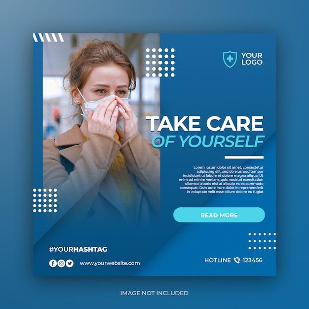Banner de prevención de salud o folleto cuadrado para plantilla de publicación de redes sociales PSD Premium