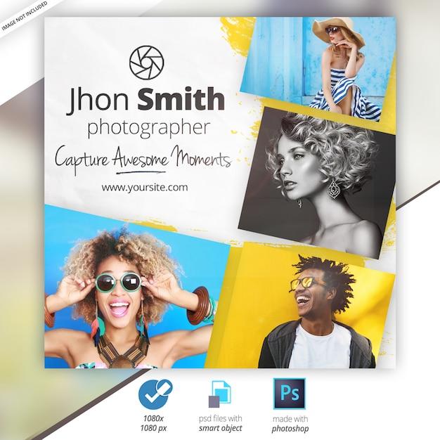 Banner pubblicitari di media sociali di fotografia Psd Premium