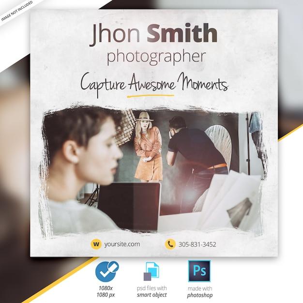 Banner pubblicitario di instagram di web di fotografia Psd Premium