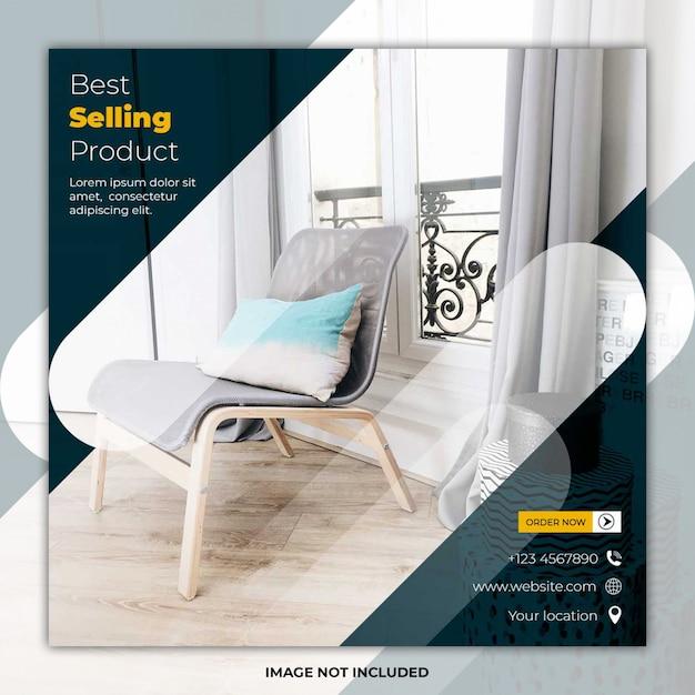 Banner de publicación de redes sociales de plantilla de muebles PSD Premium