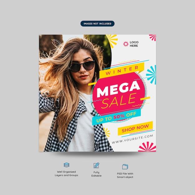 Banner quadrato di moda mega vendita social media post modello Psd Premium