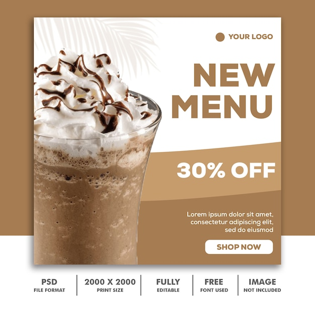 Banner quadrato modello post per instagram, menu frullato bevanda cibo ristorante Psd Premium