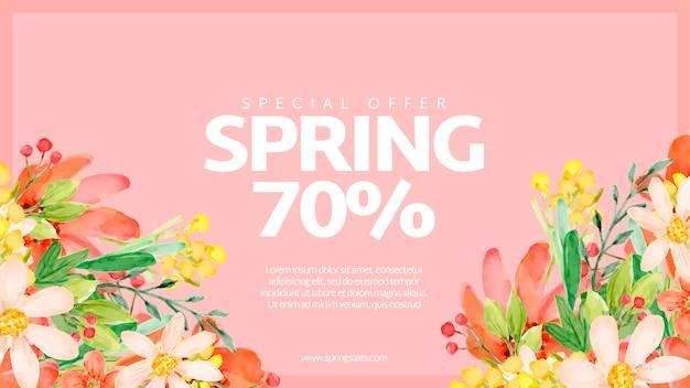 Banner de rebajas de primavera con flores de acuarela PSD gratuito