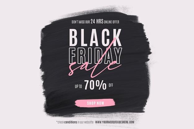 Banner de rebajas de viernes negro con forma de pintura PSD gratuito