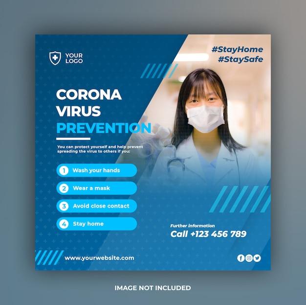 Banner sanitario o volantino quadrato con tema di prevenzione virus per modello di post di social media Psd Premium