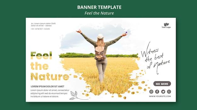 Banner siente la plantilla de la naturaleza PSD gratuito