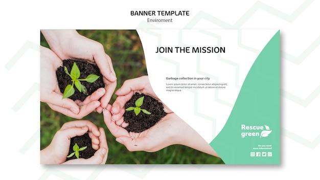 Banner sjabloon concept met omgeving Gratis Psd