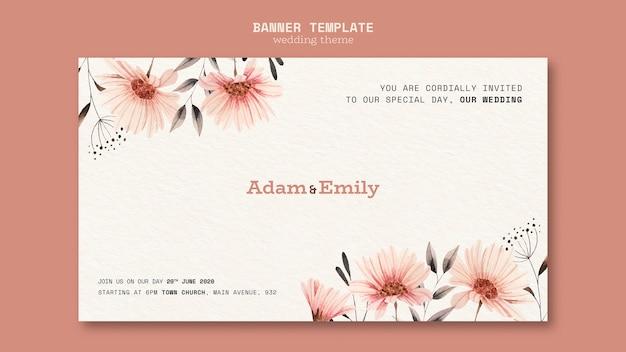 Banner sjabloon concept voor bruiloft Gratis Psd