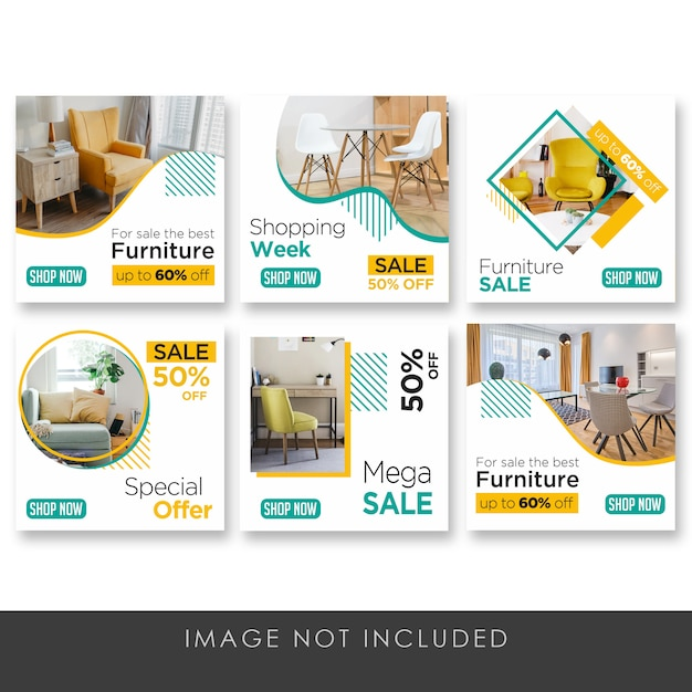 Banner social media post collezione di mobili per la casa pulita Psd Premium