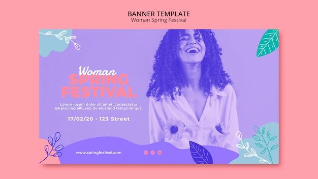 Banner con tema de festival de primavera de mujer PSD gratuito