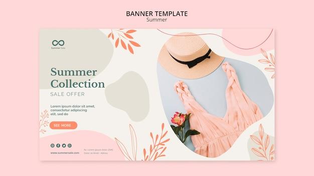 Banner de venta de colección de verano PSD gratuito