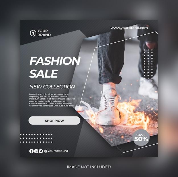 Banner de venta de moda negra o folleto cuadrado para plantilla de publicación de redes sociales PSD Premium