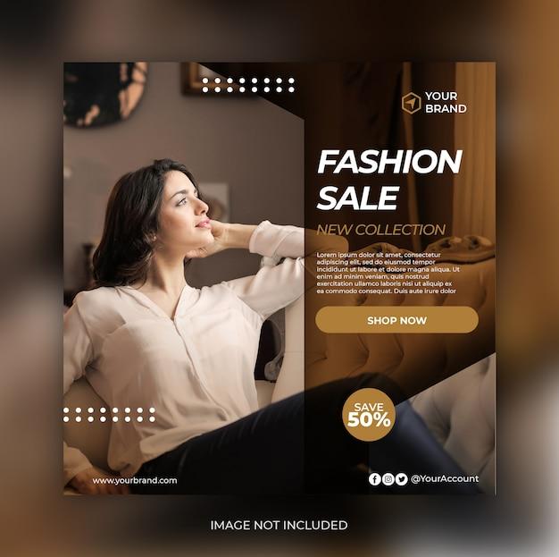Banner de venta de moda o folleto cuadrado para plantilla de publicación en redes sociales PSD Premium