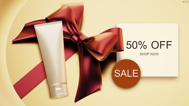 Banner de venta con productos de belleza y cinta roja. PSD Premium