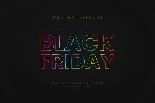 Banner de venta de viernes negro y efecto de texto de neón de photoshop PSD Premium
