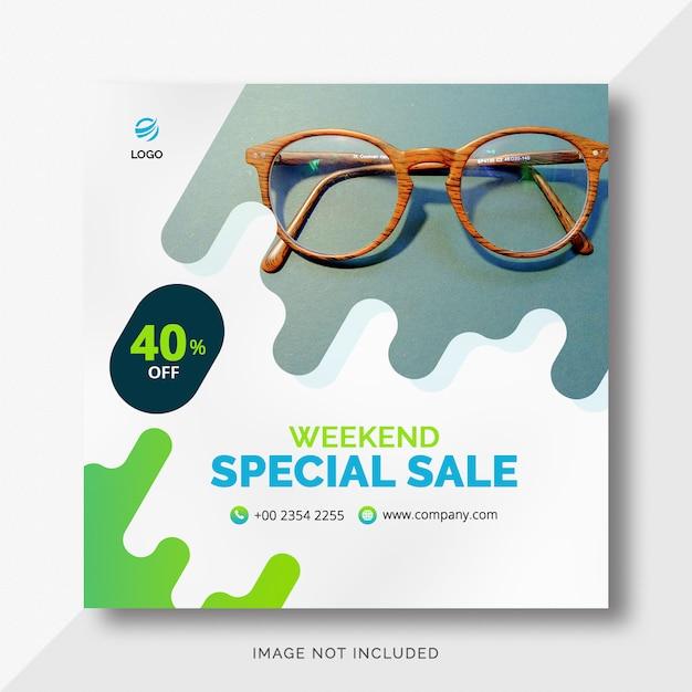 Banner de ventas de formas redondeadas de instagram PSD Premium