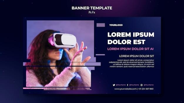 Banner virtual reality-sjabloon Gratis Psd