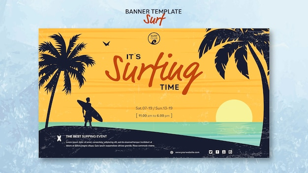 Banner voor surftijd Gratis Psd