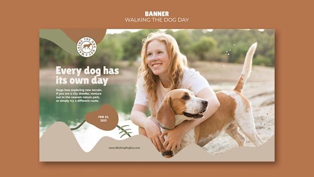 Banner wandelen met de hond dagsjabloon Premium Psd