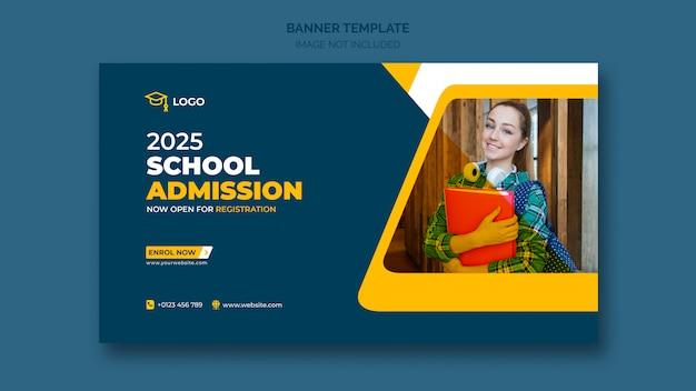 Banner web de admisión escolar o plantilla de banner social PSD gratuito