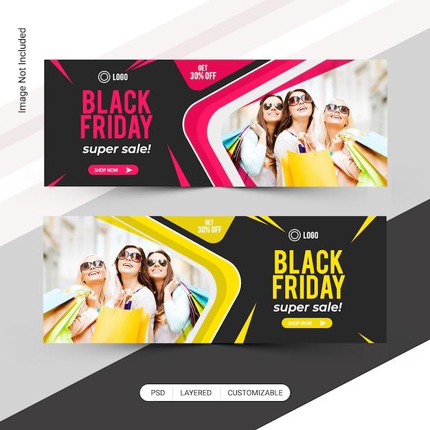 Banner de web de black friday fashion sale PSD Premium