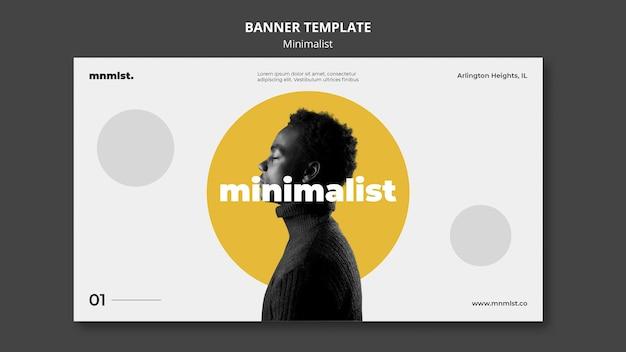 Bannermalplaatje in minimale stijl voor kunstgalerie met man Gratis Psd
