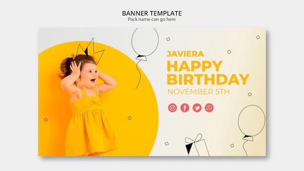 Bannermalplaatje met gelukkige verjaardag Gratis Psd