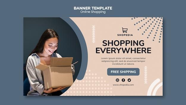 Bannermalplaatje met online het winkelen concept Gratis Psd