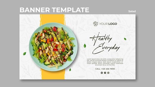 Bannermalplaatje voor gezonde salade-lunch Gratis Psd