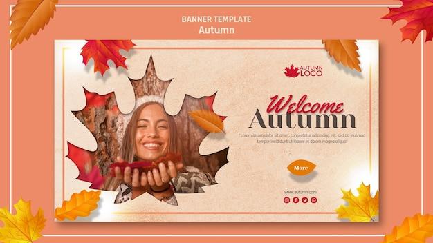 Bannermalplaatje voor het verwelkomen van herfstseizoen Gratis Psd