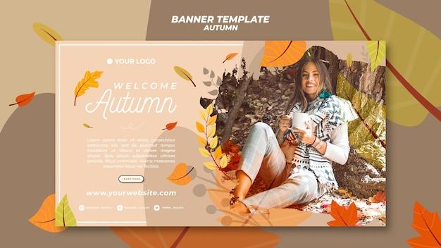 Bannermalplaatje voor het verwelkomen van het herfstseizoen Gratis Psd