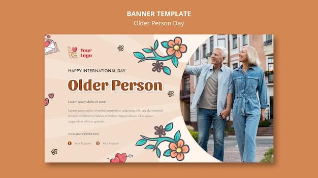 Bannermalplaatje voor hulp en zorg voor ouderen Gratis Psd