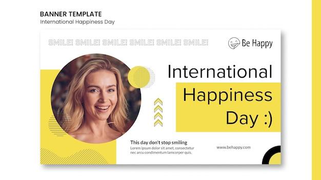 Bannermalplaatje voor internationale dag van geluk Gratis Psd